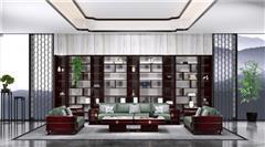 老周家居 上海老周紅木 印尼黑酸枝沙發(學名闊葉黃檀) 大容沙發6件套(123) 現代中式紅木沙發 新中式家具 紅木家具沙發 客廳系列