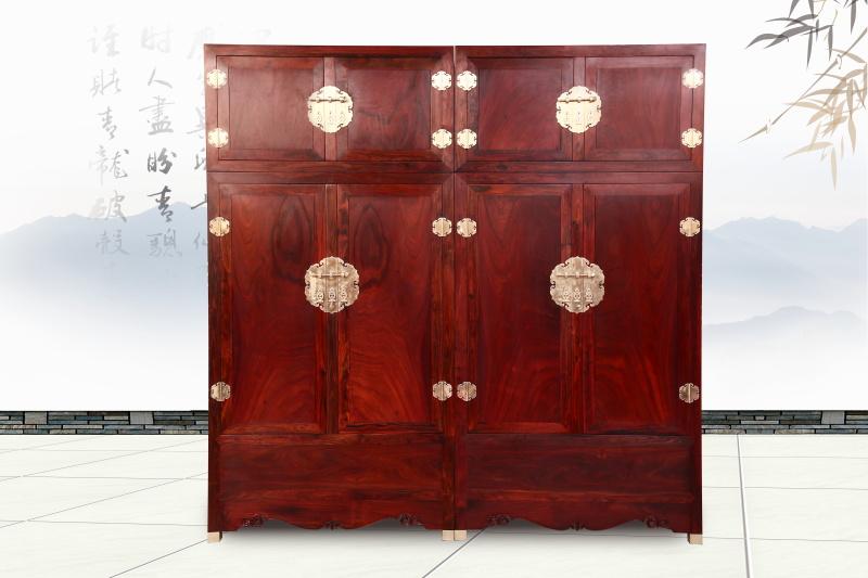 醉木苑红木家具 大红酸枝(交趾黄檀)顶箱柜衣柜1对 卧室套房系列 高端红木家具 明清仿古家具