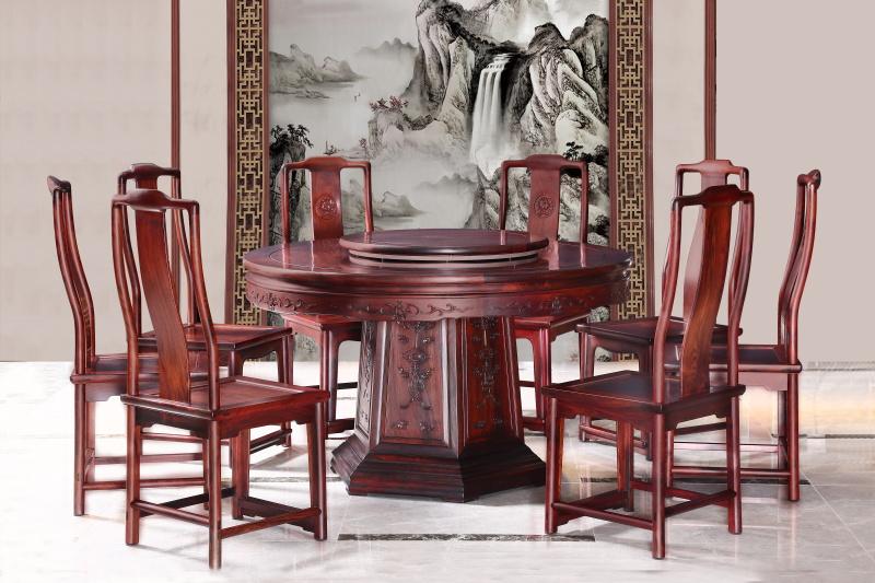 醉木苑红木家具 大红酸枝(交趾黄檀)圆餐桌餐台9件套 餐厅系列 高端红木家具 明清仿古家具