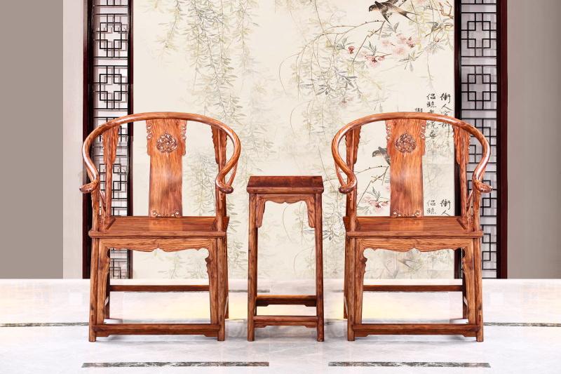 醉木苑红木家具 海南黄花梨(降香黄檀)圈椅3件套 客厅系列 休闲系列 高端红木家具 明清仿古家具