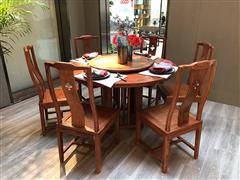 墨+红木 刺猬紫檀圆台  尚贤1.33圆台  新中式圆台  1.33圆台     餐厅系列