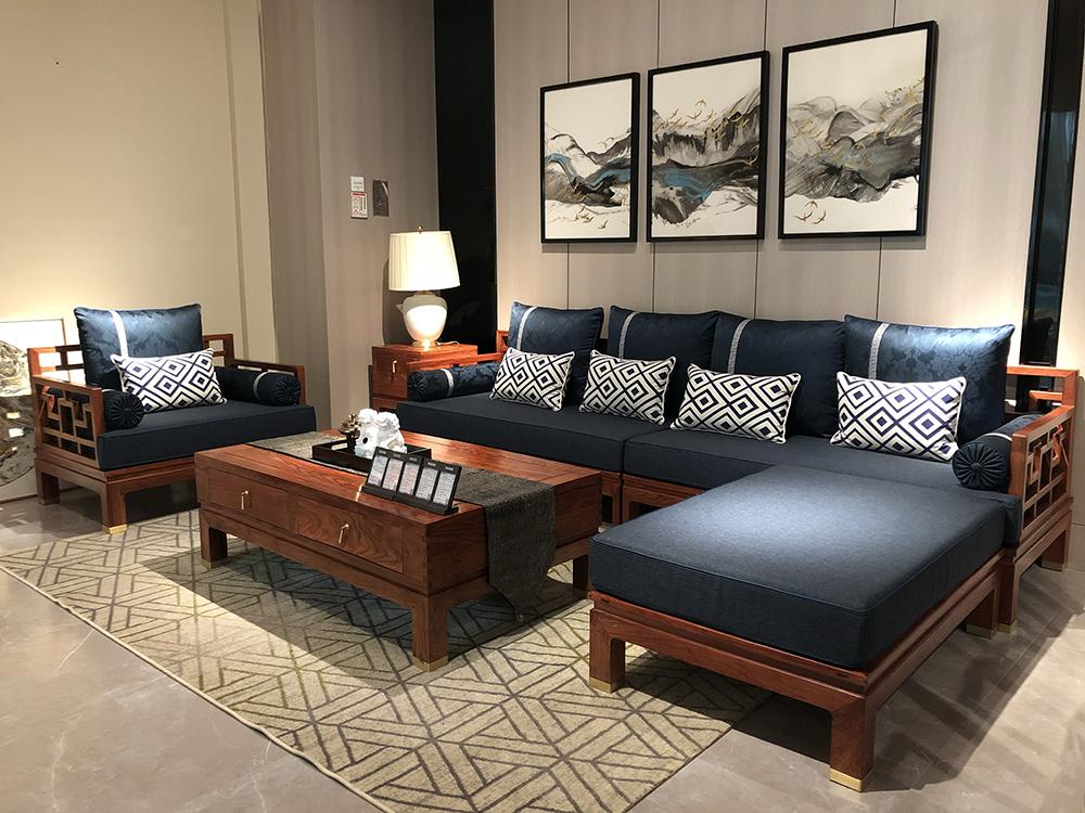 墨+红木 刺猬紫檀沙发   红木沙发 大同转角沙发  客厅系列