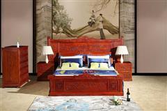 明清居 东阳木雕 红木家具 中式家具 彪云系列 缅甸花梨(学名大果紫檀)卧房家具 万紫千红大床