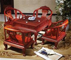 明清居 东阳木雕 红木家具 中式家具 彪云系列 休闲系列 缅甸花梨(学名大年夜果紫檀)真龙休闲台
