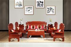 明清居 东阳木雕 千赢国际入口沙发 中式家具 彪云系列 客厅系列 缅甸花梨(学名大果紫檀)大团圆沙发10件套