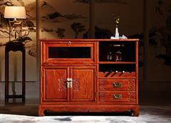 华厦·大不同 大果紫檀 缅甸花梨 中式家具 红木家具 古典家具 新古典家具 中式餐厅 餐厅系列 风车酒柜