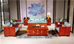 越府红木 大果紫檀 缅甸花梨 新古典家具 中式家具 红木家具 红木沙发 中式客厅 客厅系列 龙行天下3号沙发4件套