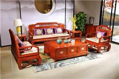 越府红木 大果紫檀 缅甸花梨 新古典家具 中式家具 红木家具 红木沙发 中式客厅 客厅系列 天龙八部2号沙发6件套