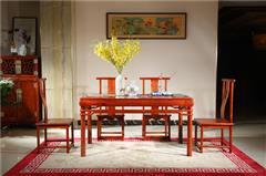 越府红木 大果紫檀 缅甸花梨 新古典家具 中式家具 红木家具 中式餐厅 红木餐桌 餐厅系列 天龙八部餐椅、花样年华餐台