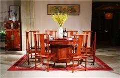 越府红木 大果紫檀 缅甸花梨 新古典家具 中式家具 红木家具 中式餐厅 红木餐桌 餐厅系列 天龙八部圆台9件套