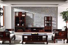 恒达木业 红木家具印尼黑酸枝(学名:阔叶黄檀)诗韵系列三组合厅柜中式客厅空间