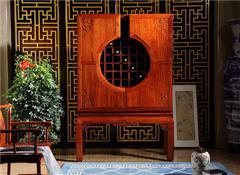 越府红木 大果紫檀 缅甸花梨 新古典家具 中式家具 红木家具 中式餐厅 红木酒柜 餐厅系列 一言九鼎酒柜