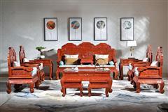 华厦·大不同 大果紫檀 缅甸花梨 中式家具 红木家具 古典家具 新古典家具 中式客厅 客厅系列 花开富贵沙发13件套