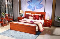越府红木 大果紫檀 缅甸花梨 新古典家具 中式家具 红木家具 中式卧房 卧房系列 红木大床 龙行天下1号大床