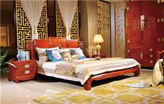 越府红木 大果紫檀 缅甸花梨 新古典家具 中式家具 红木家具 中式卧房 卧房系列 红木大床 天龙八部1号大床
