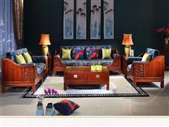 如金 花梨木 新中式 红木家具 国标红木 刺猬紫檀(非洲花梨)原木色 榫卯结构 生漆 天然蜡 客厅 容与并蒂莲 沙发 7件套