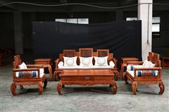 大清御品国标红木中式古典榫卯制作刺猬紫檀(非洲花梨)客厅明尚沙发7件套