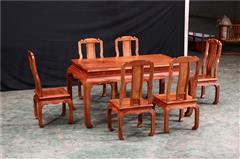 大清御品国标红木中式古典榫卯制作刺猬紫檀(非洲花梨)榫卯制作餐厅百味人生餐桌7件套