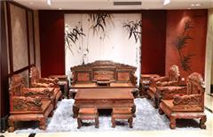 大清御品国标红木中式古典榫卯制作老挝大红酸枝(交趾黄檀)客厅大堂百狮如意沙发13件套