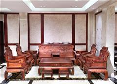 大清御品国标红木中式古典榫卯制作老挝大红酸枝(交趾黄檀)客厅大堂荷花沙发13件套
