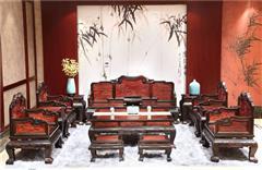 大清御品国标红木中式古典榫卯制作老挝大红酸枝(交趾黄檀)客厅大堂荣华富贵沙发13件套