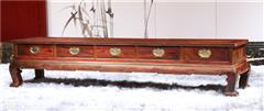 大清御品国标红木中式古典榫卯制作老挝大红酸枝(交趾黄檀)客厅素面弯角电视柜
