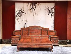 大清御品国标红木中式古典榫卯制作老挝大红酸枝(交趾黄檀)卧房卧室葡萄大床