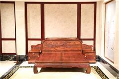 大清御品国标红木中式古典榫卯制作老挝大红酸枝(交趾黄檀)卧室卧房荷花大床