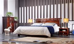 地天泰·国风 海纳百川大床+海纳百川床头柜+纳风休闲椅 新中式家具 卧室套房系列  黑酸枝