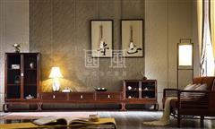 地天泰·国风 朗风高酒柜+朗风低酒柜+朗风电视柜地柜 新中式家具 黑酸枝 客厅系列