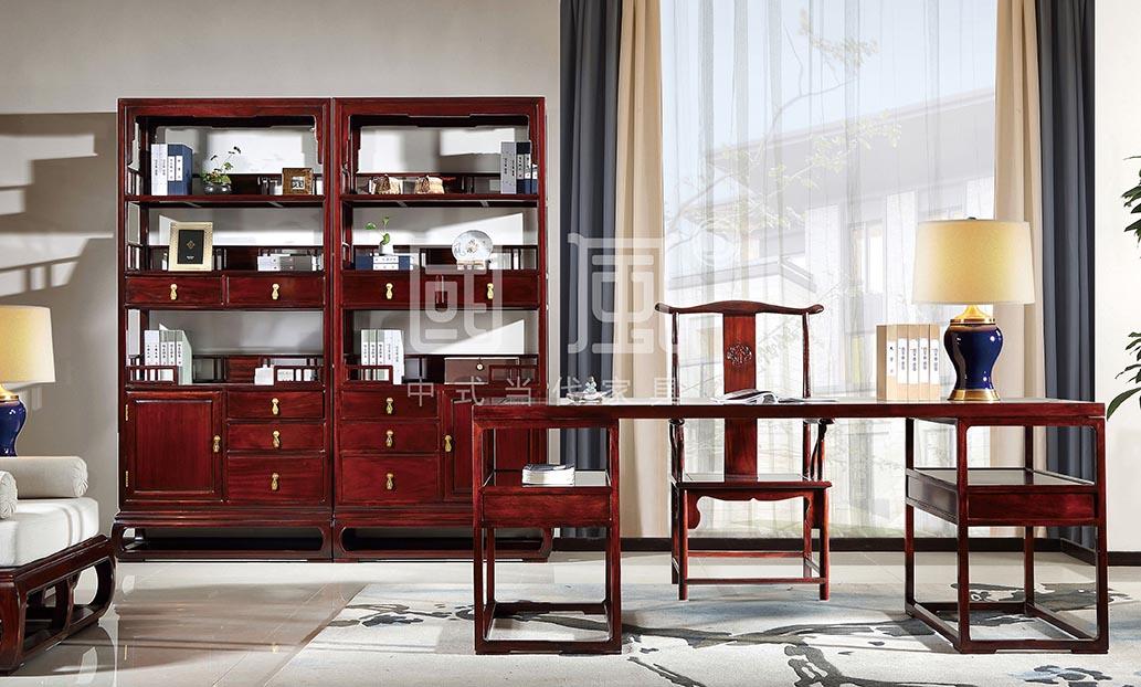 地天泰·國風 朗風書臺+朗風書椅+朗風書柜 新中式家具 黑酸枝 辦公系列 書房系列
