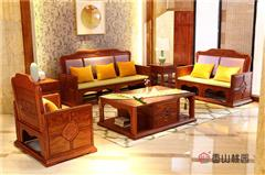 中山永华家具 香山桃园 巴花鸿运沙发6件套(123) 巴西花梨沙发 新中式沙发 简约中式家具 实木沙发 花梨木家具 客厅系列