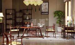 地天泰·国风 纳风茶台茶桌+纳风茶台椅 新中式家具 黑酸枝 客堂系列 休闲系列