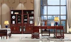 地天泰·国风 硕风3号办公组合 新中式家具 黑酸枝 办公系列 书房系列