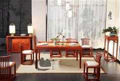 国寿红木 新明式家具 缅甸花梨家具 轩逸备餐柜  轩逸长餐台 明轩单椅  明轩带斗花几