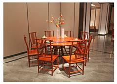 地天泰·国颂 1.58米和风圆餐台 缅甸花梨(大果紫檀)餐桌 餐厅系列 新中式红木家具 时尚简约