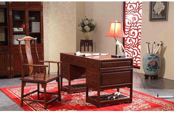 美联家私 红木写字台 红木官帽椅 小字台 明式四出头官帽椅