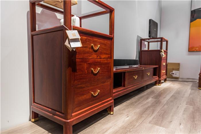 名作现代新中式家具 刺猬紫檀 新中式家具 红木家具 中式家具 中式客厅 客厅系列 静观电视柜
