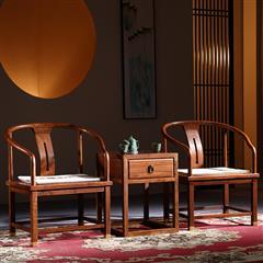 如金 花梨木 中式 新古典 红木家具 刺猬紫檀 (非洲花梨)国标红木 原木色 休闲 圈椅三件套