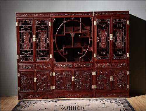 东源红木 中式古典 国标红木 红酸枝 绒毛黄檀 书房套 三组合书柜 带花格