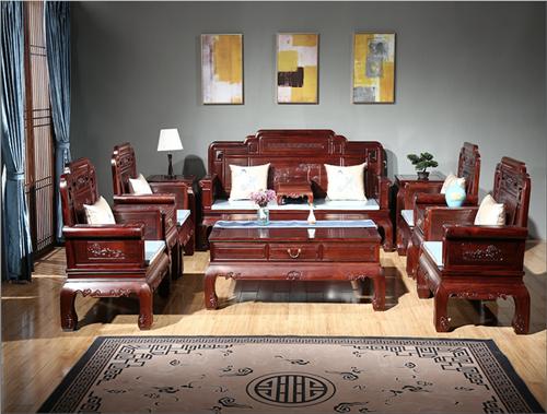 东源红木中式古典国标红木红酸枝绒毛黄檀客厅国色天香沙发113款123款11件套7件套