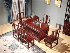 东源红木 中式古典 国标红木 红酸枝 绒毛黄檀 茶室 会议室 休闲室 大中华茶桌 南宫椅  7件套