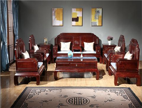 东源红木中式古典国标红木红酸枝绒毛黄檀客厅吉祥如意沙发113款123款11件套7件套