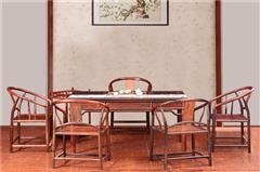 木缘红木 老挝大红酸枝茶台(学名交趾黄檀) 大红酸枝明式茶台7件套 酸枝茶台茶桌 明式茶台 中式休闲茶台 红木茶台 客餐厅系列