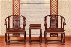 木缘红木 老挝大红酸枝皇宫椅(学名交趾黄檀) 大红酸枝皇宫椅3件套 酸枝皇宫椅 中式圈椅皇宫椅 中式圈椅 中式红木休闲椅 客厅系列