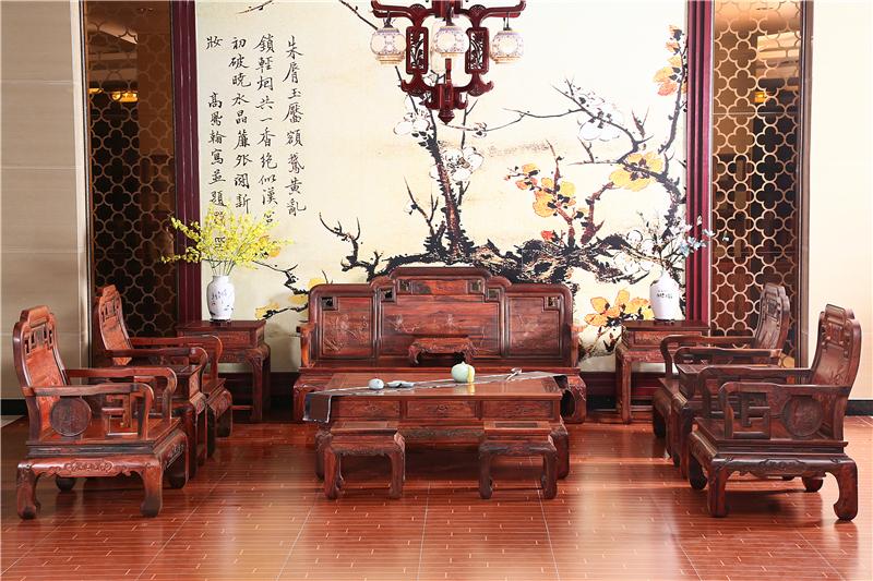 木缘红木 老挝大红酸枝沙发(学名交趾黄檀) 大红酸枝国色天香沙发13件套 酸枝沙发 明清古典沙发 中式客厅 中式红木沙发 客厅系列