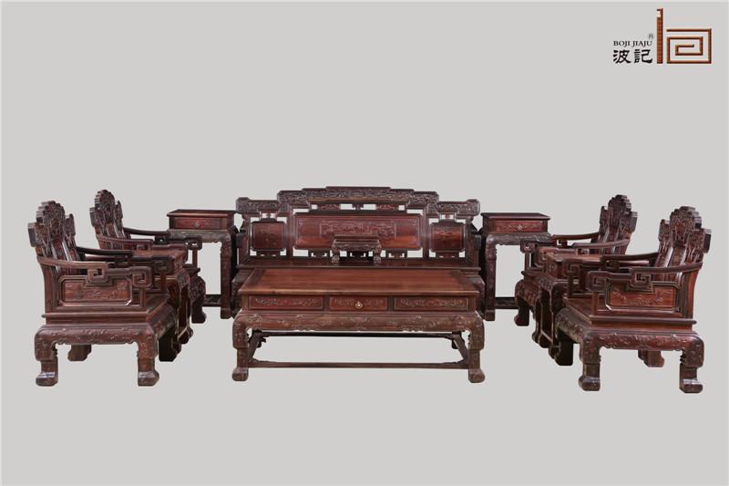 波记家具 老挝大红酸枝沙发(学名交趾黄檀) 八宝如意沙发11件套 健康环保家具 高端红木家具 明清古典沙发 客厅沙发系列