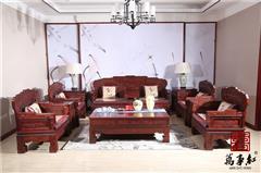 万事红 国标红木 中式古典 微凹黄檀 红酸枝 客厅 汉宫沙发11件套