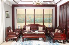 万事红 国标红木 中式古典 微凹黄檀 红酸枝 客厅 花开富贵沙发7件套