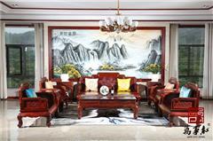 万事红 国标红木 中式古典 微凹黄檀 红酸枝 客厅 花开富贵沙发11件套